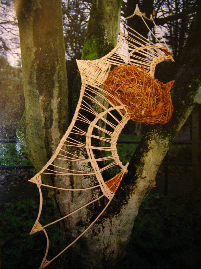 Bat sculpture for woodland trail