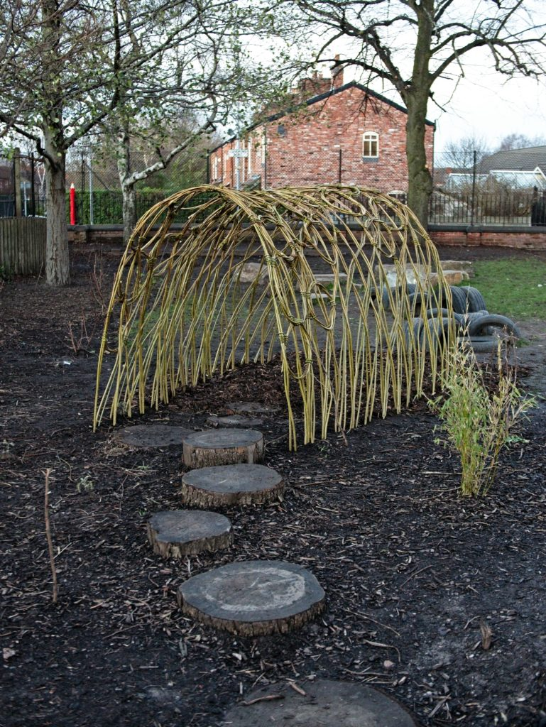 Newly built living willow tunnel, Oswald Road Primary School, Chorlton, Manchester
